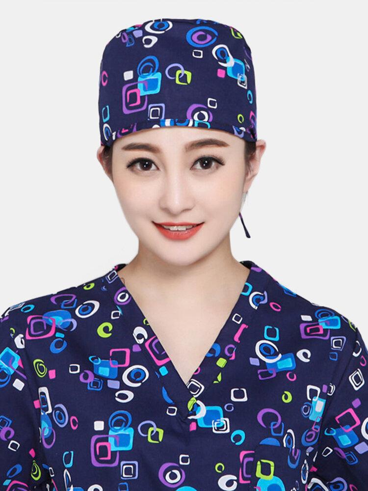قبعة الطبيب لتقشير الشعر القصير برباط صغير قبعة التجميل للتخدير