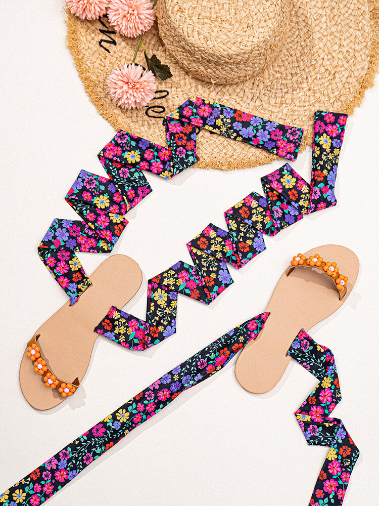 Women Casual Bohemian Style Lace-up Outdoor Beach Gladiator Sandals
