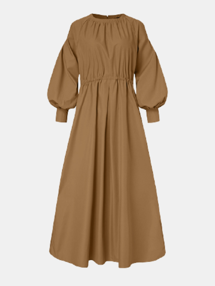 Casual Solid Color O-neck Puff Sleeve Plus Size Dress with Button