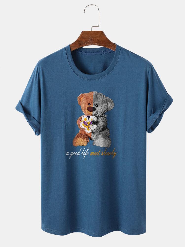 Mens 100% Cotton Doll Bear & Letter Print Short Sleeve T-Shirt
