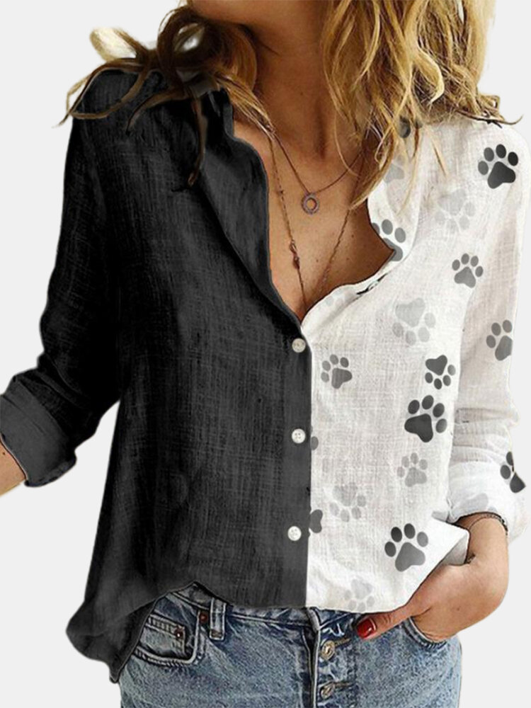 Dog Paw Print Patchwork Long Sleeve Casual Shirt For Women
