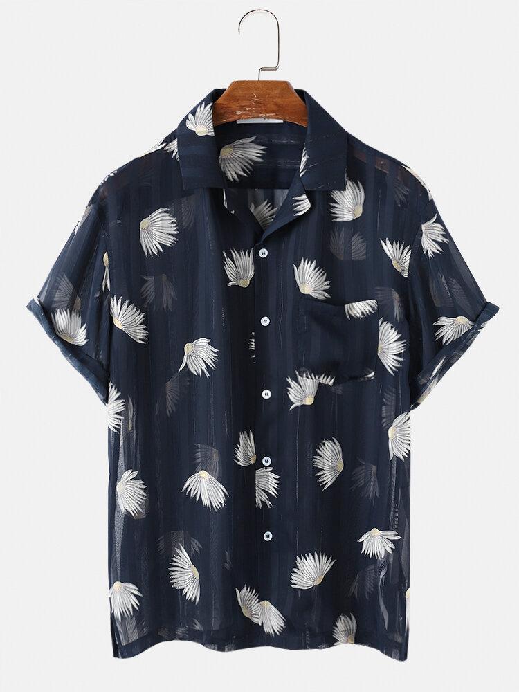 Flor a rayas para hombre Patrón Ver a través de malla transparente con botones Camisa