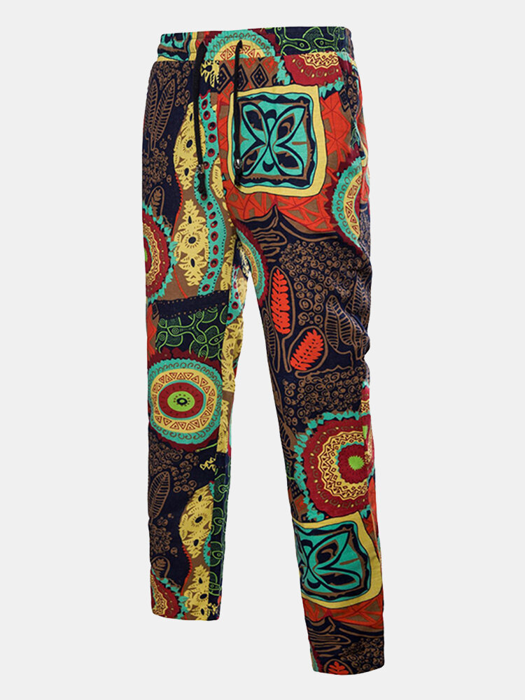 Mens Chinese Style Trousers Elastic Waist Ethnic Style Printed Straight Pants Casual Pants