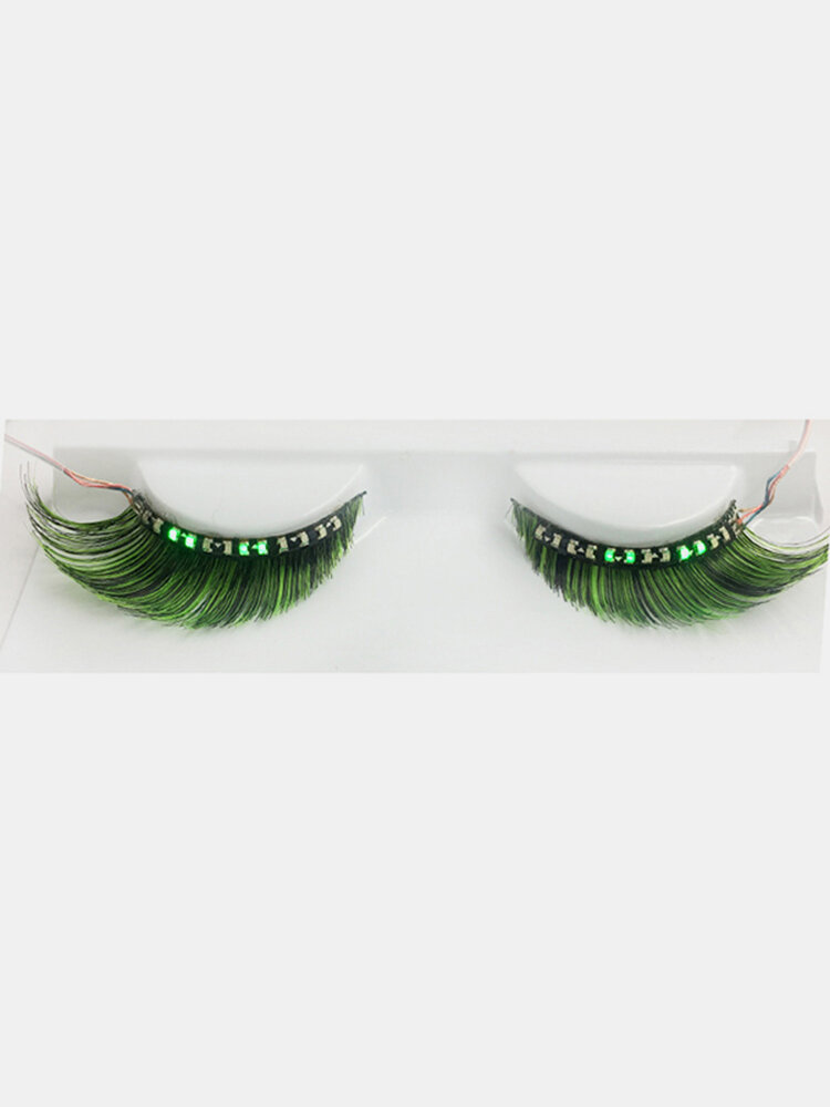 1 Pair Led False Eyelashes Light Waterproof Long Curly Eyelash Halloween Christmas Makeup