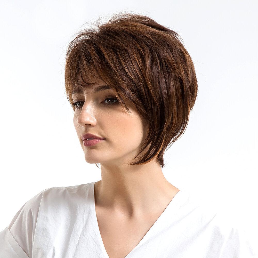 Человеческие волосы короткие парики прямые реальные человеческие волосы химическое волокно смешанные синтетические парики для женщин
