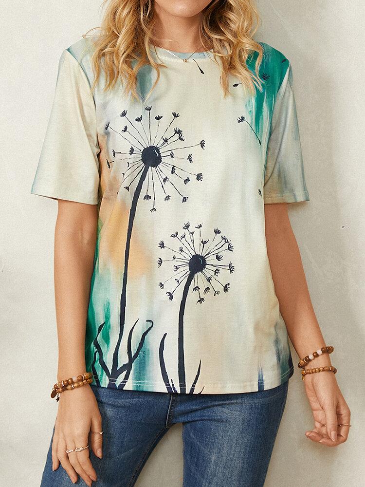 Calico Print Short Sleeve O-neck Casual T-Shirt For Women