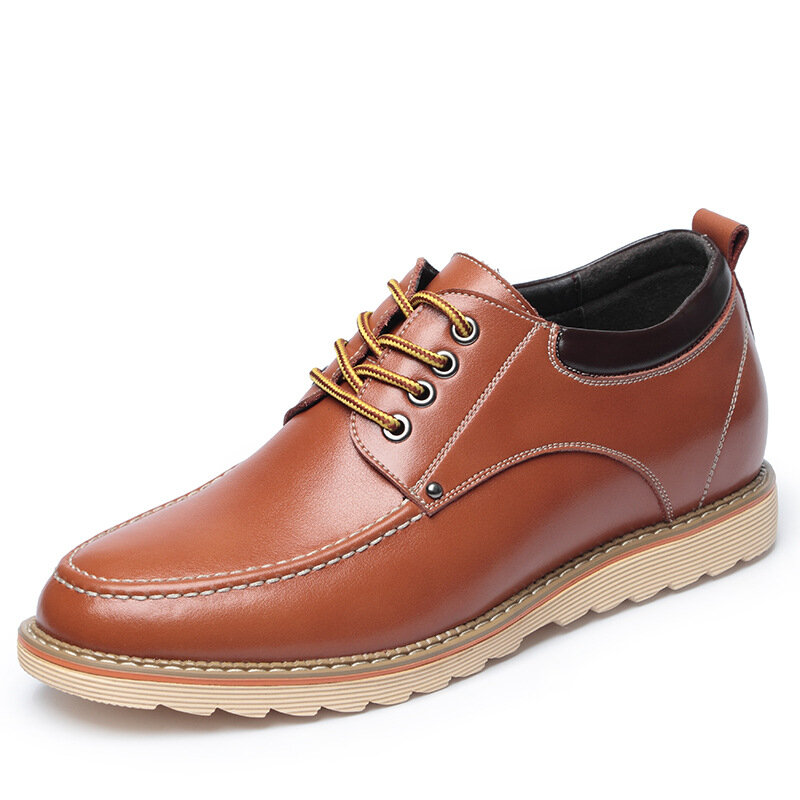 Men Lace-up Round Toe Stitching Hard Wearing Casual Business Loafers Shoes