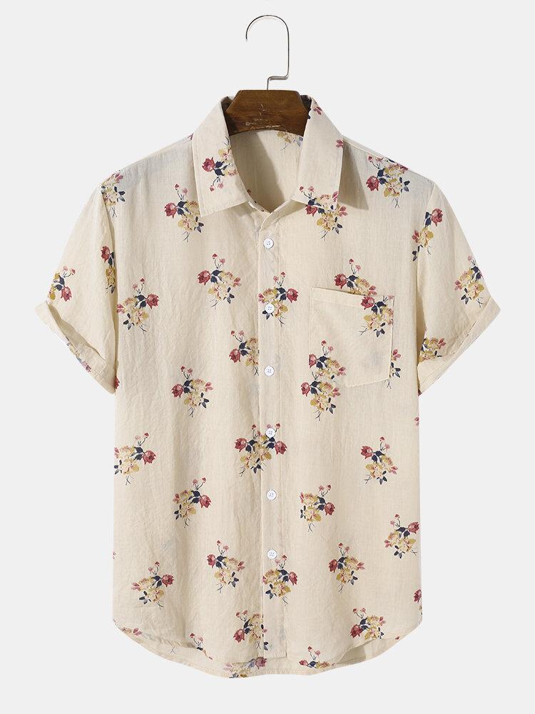 Mens Vintage Floral Print 100% Cotton Short Sleeve Shirts With Pocket