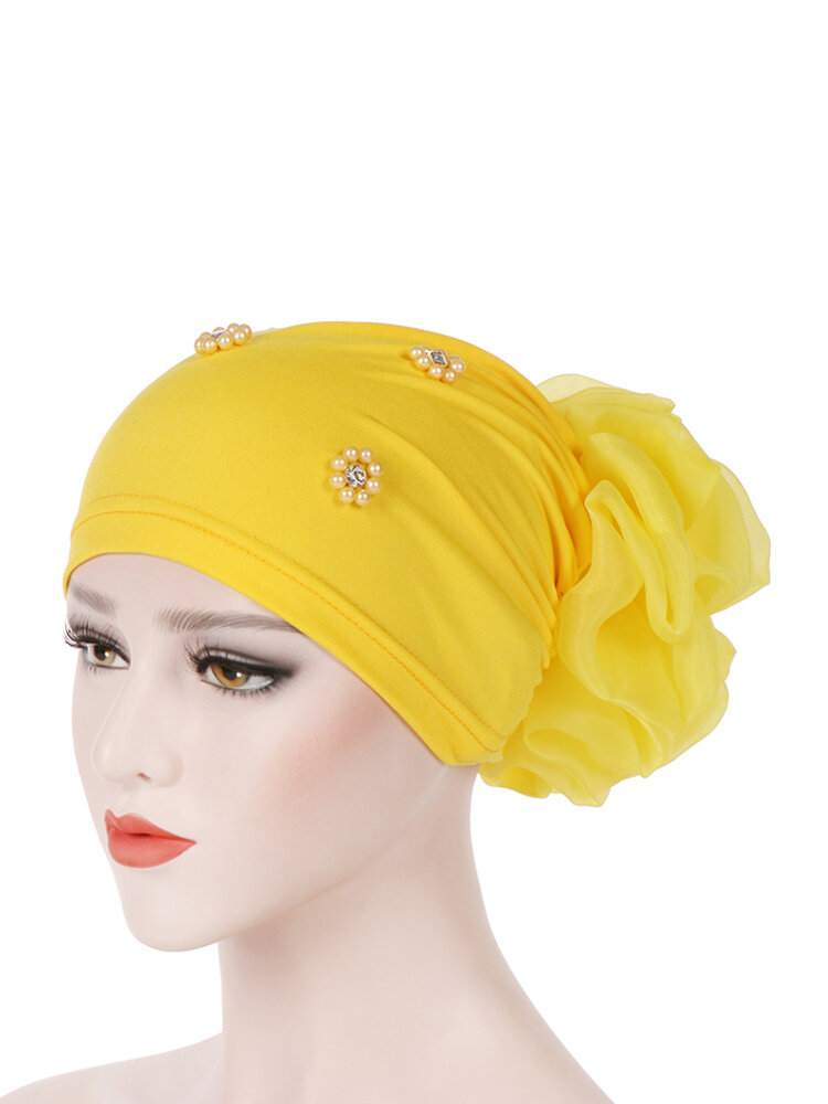 Women Pan Flower Hat Oversized With Flower Headscarf Beanies Hat Solid Color Beaded  Cotton Cap