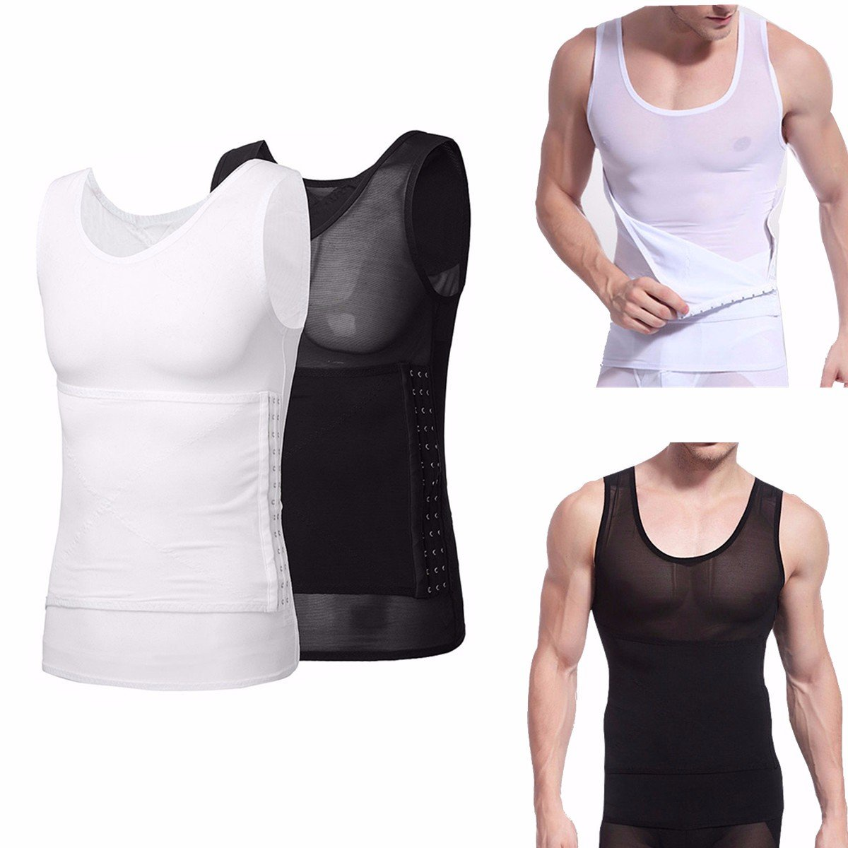 Men Body Shaping Waist Slimming Vest Belly Tight Corset Breasted Adjustment Shaper