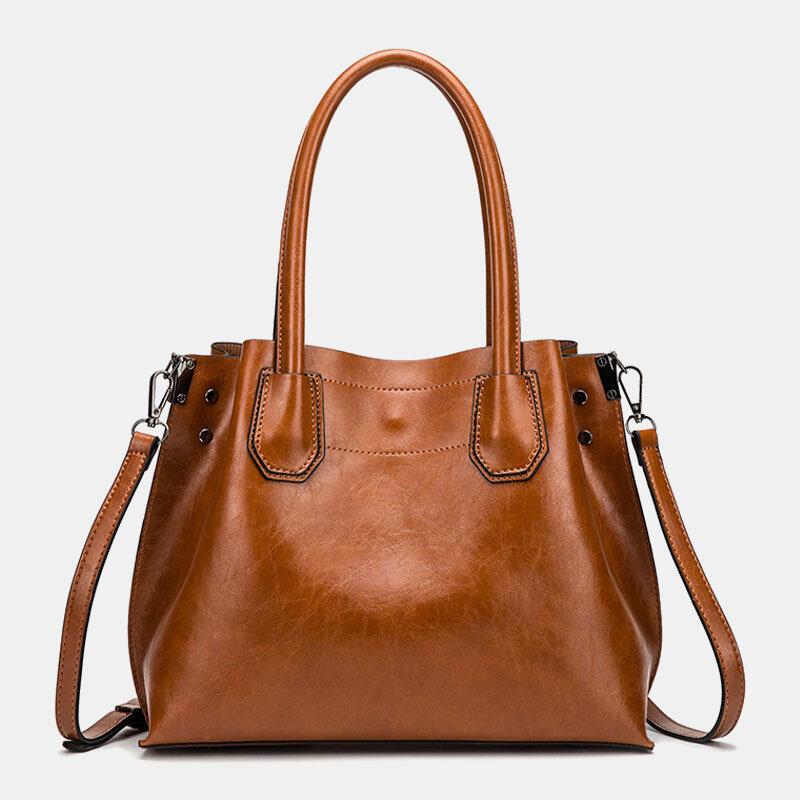 Women Large Capacity Oil Wax Handbag Crossbody Bag
