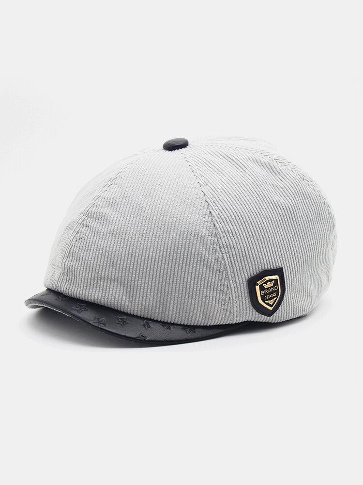 Men Plus Velvet And Thick Plain Color Flat Cap Metal Badge Newsboy Hat Octagonal Hat Beret Hat