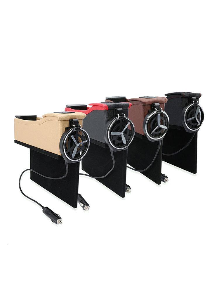Car Seat Gap Storage Box USB Seat Crevice Organizer Bag Phone Charge Pad Travel Drink Cup Holder