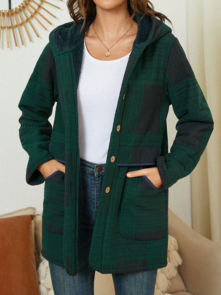 Pocket Check Plush Hooded Coat, newchic  - buy with discount