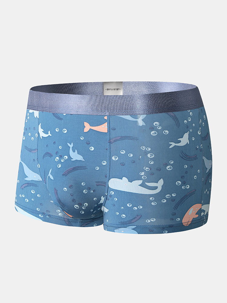 Mens Breathable Sexy Cartoon Print Underwear With Mesh Pouch Boxer Briefs