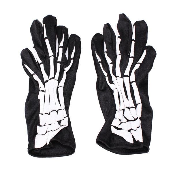 Halloween Full Skeleton Finger Ghost Demon Elastic Skull Gloves
