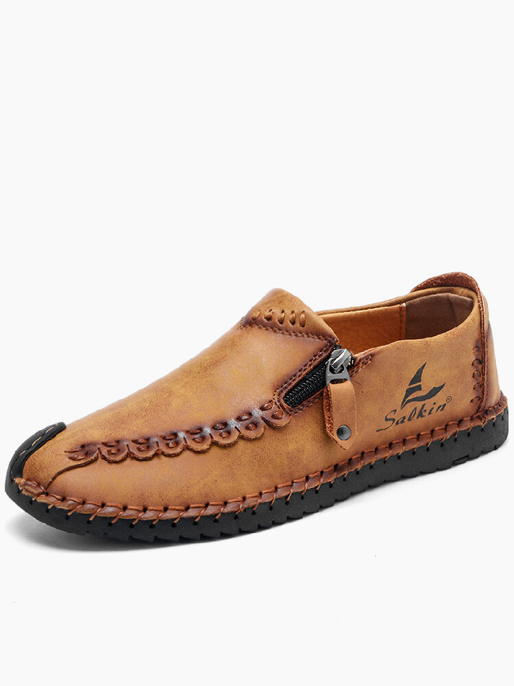 Menico Men Hand Stitching Leather Non Slip Soft Sole Casual Shoes