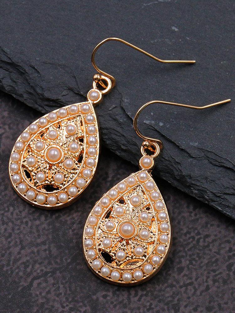 Bohemia Drop-Shape Women Earrings Hollow Pearl Inlaid Pendant Earrings Jewelry Gift