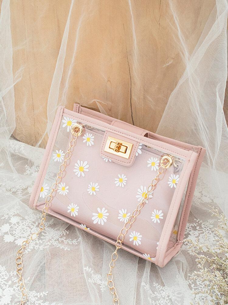 Women 2Pcs Daisy Lock Jelly Chains PVC Transparent Crossbody Bag