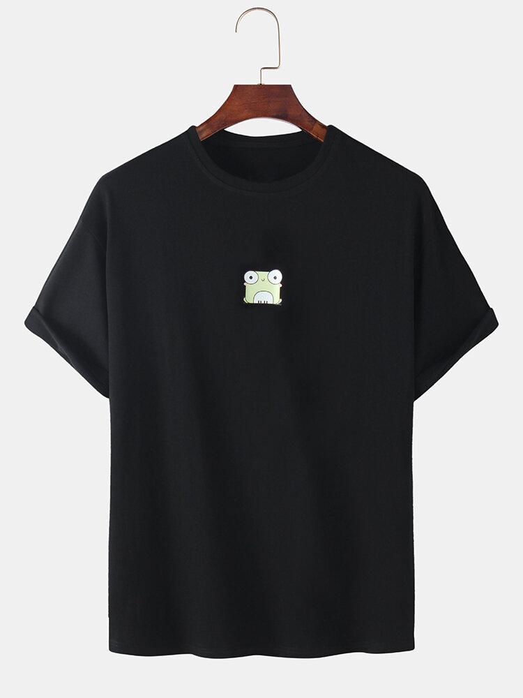 Mens Cartoon Sheep & Frog Print Solid Color Breathable Loose Casual T-Shirts