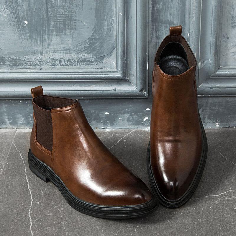 Panneaux élastiques rétro de grande taille pour hommes Slip Slip On Casual Cuir Boots