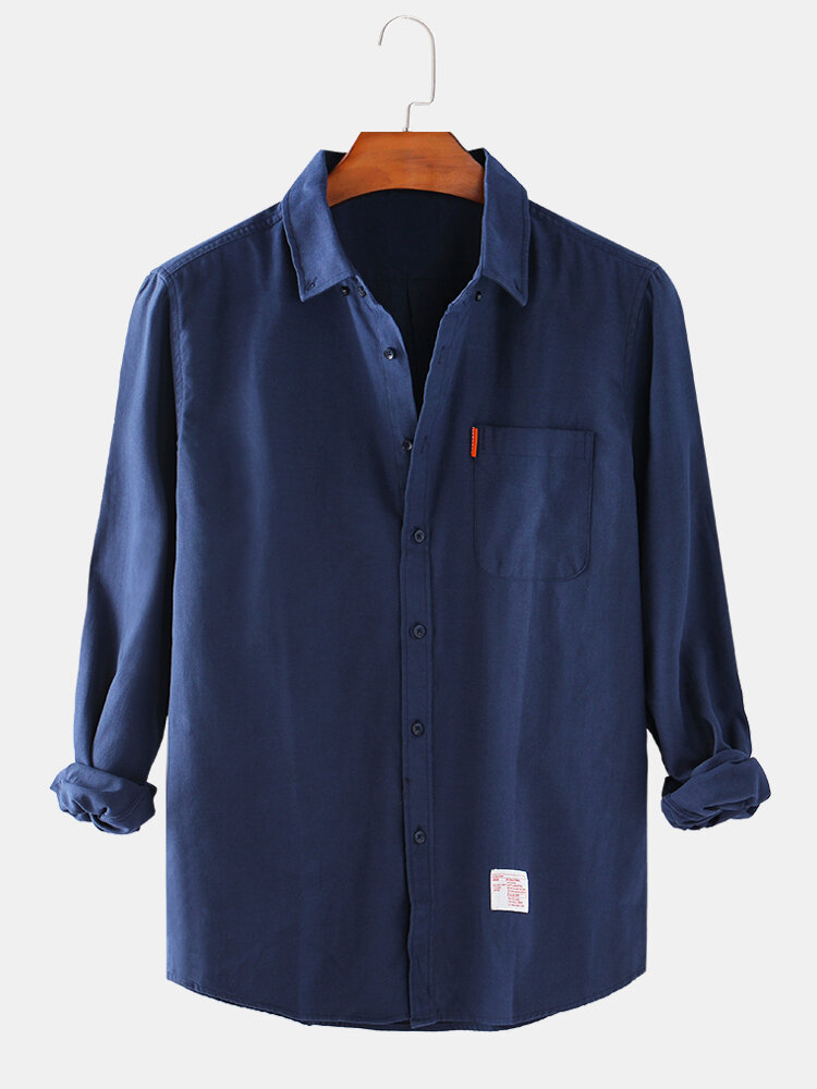 Mens Cotton Solid Color Loose Casual Long Sleeve Shirts With Pocket