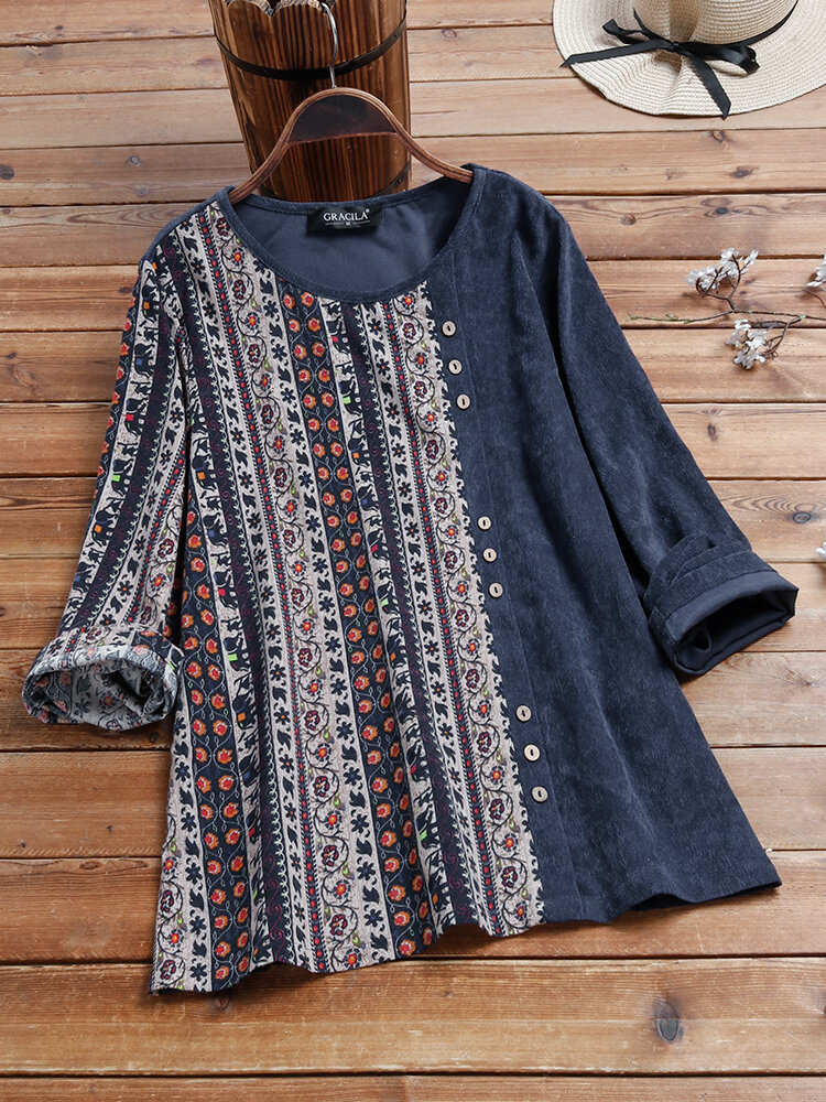 Vintage Printed Long Sleeve O-neck Patchwork Corduroy Blouse For Women