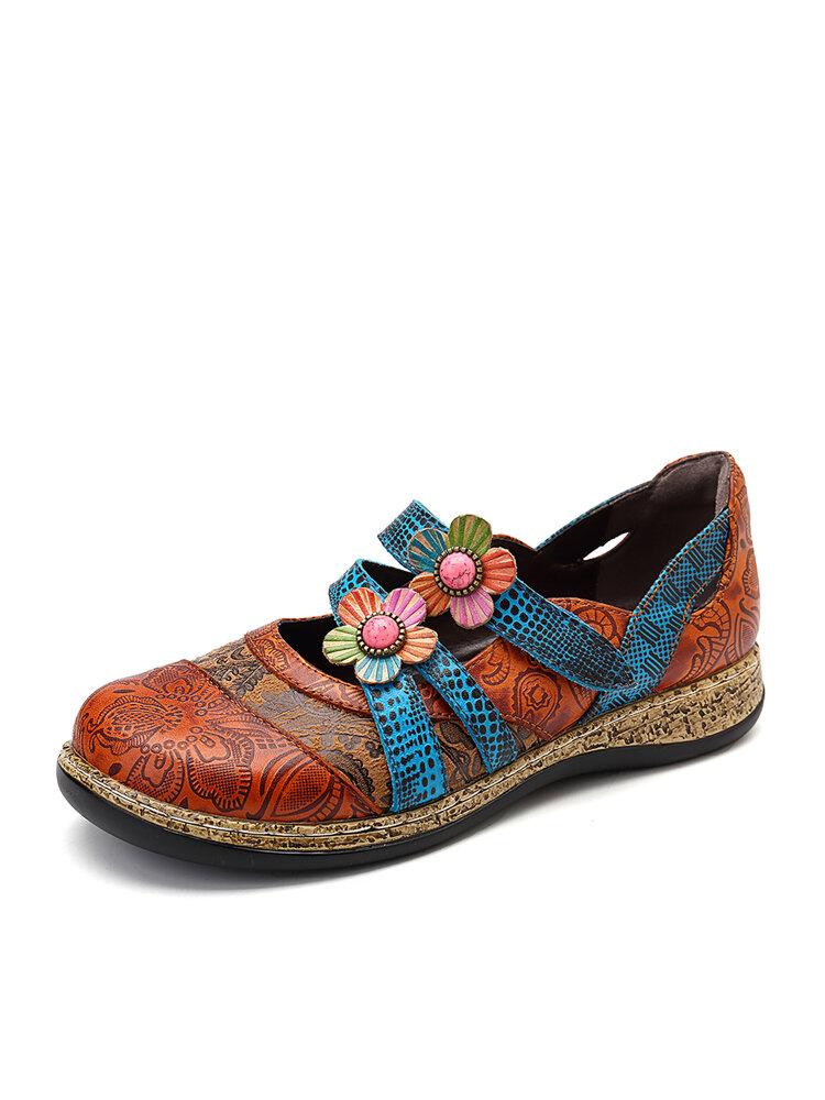 SOCOFY خمر جلد طبيعي الأزهار الربط الملونة حزام خياطة هوك حلقة حذاء مسطح