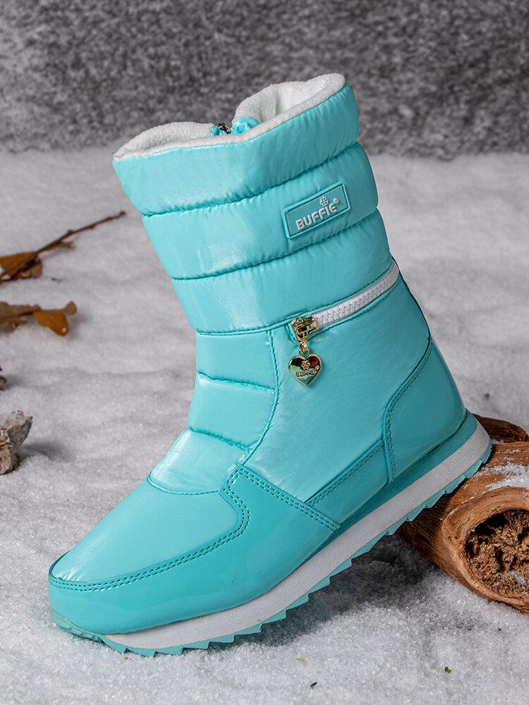 Women Warm Lining Waterproof Slip Resistant Zipper Snow Boots