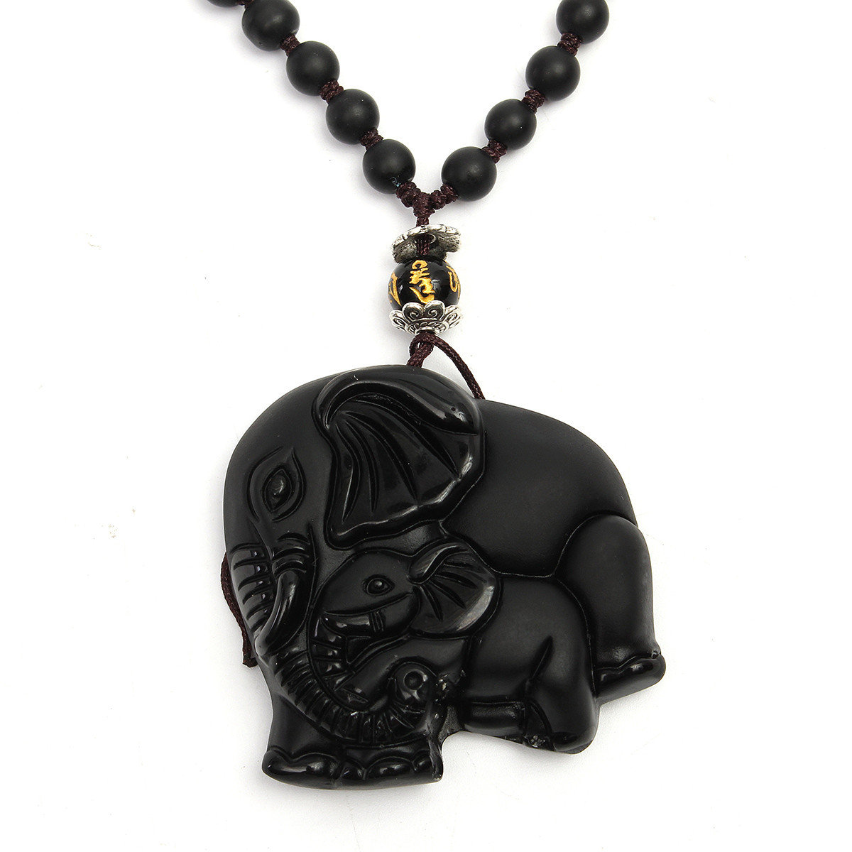 Vintage Men Necklace Chinese Natural Obsidian Hand-Carved Elephant Necklace