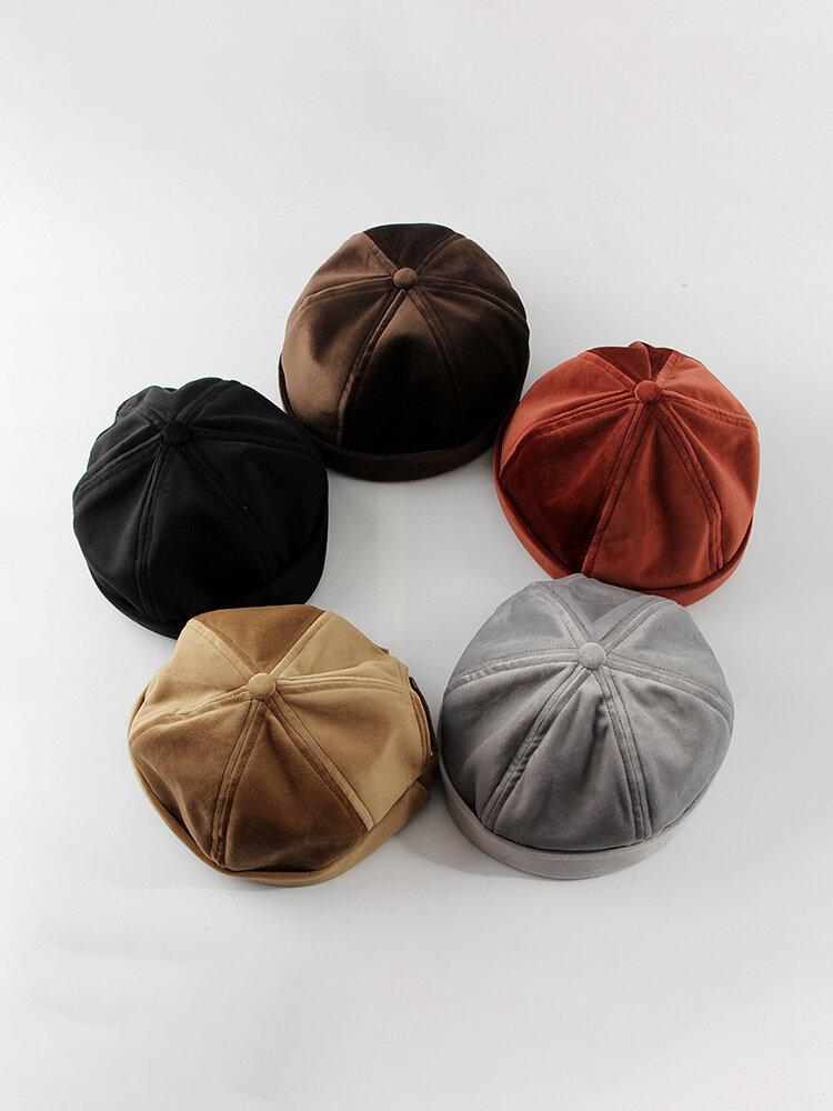 Men's Women's Plush Skull Caps Multi-color Hats Brimless Hat Warm Skull Caps