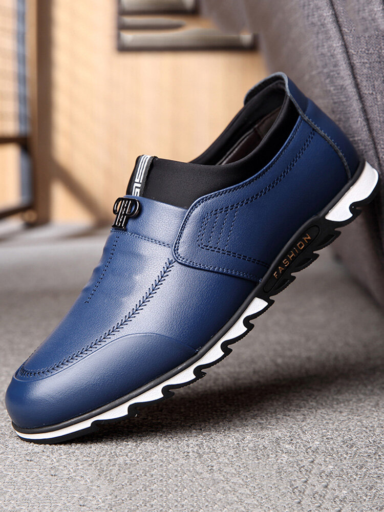 Men Breathable Comfy Slip On Business Driving Leather Shoes