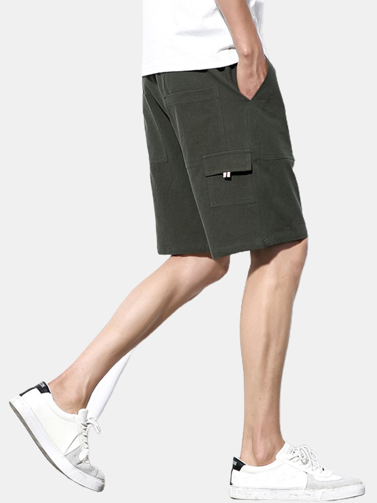 Mens Solid Color Cotton Casual Drawstring Cargo Shorts With Pocket