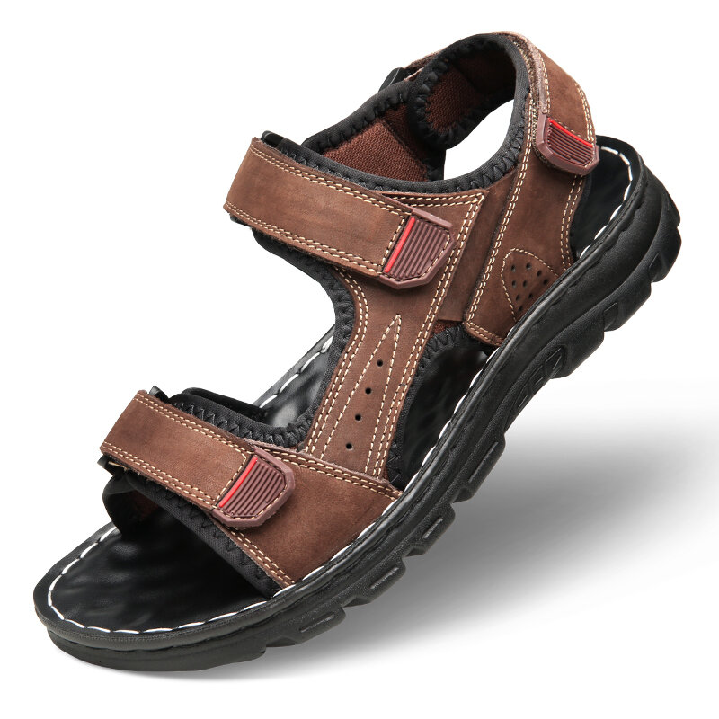 Men Open Toe Double Hook Loop Outdoor Water Leather Sandals