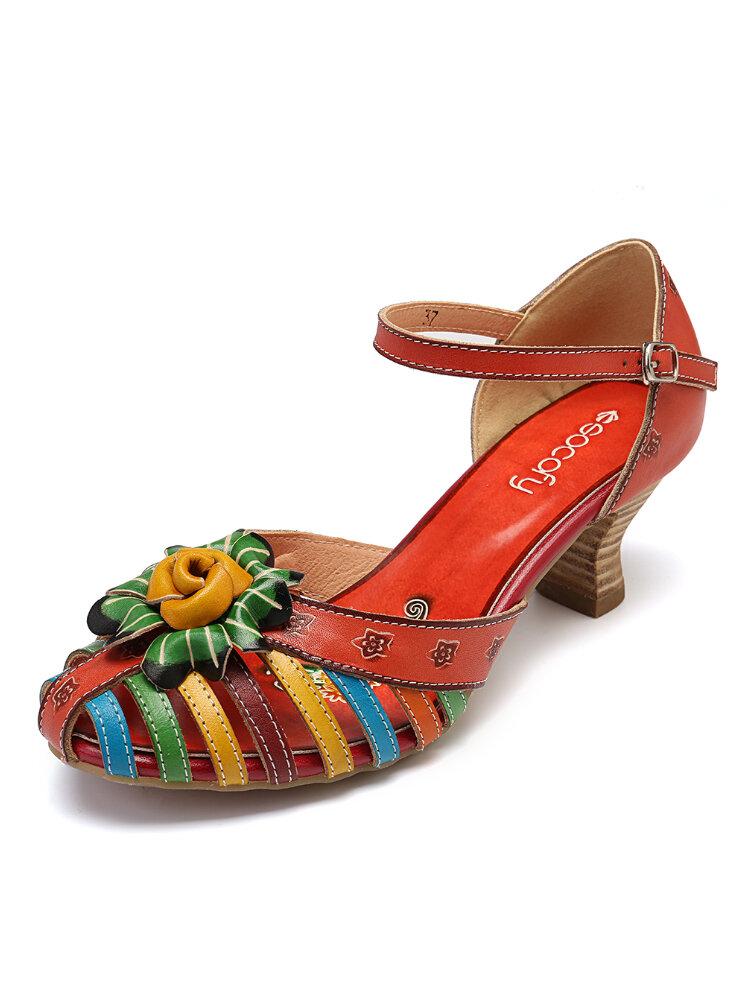 SOCOFY Elegant Floral Colorful Genuine Leather Splicing Winebowl Heel Fisherman Sandals