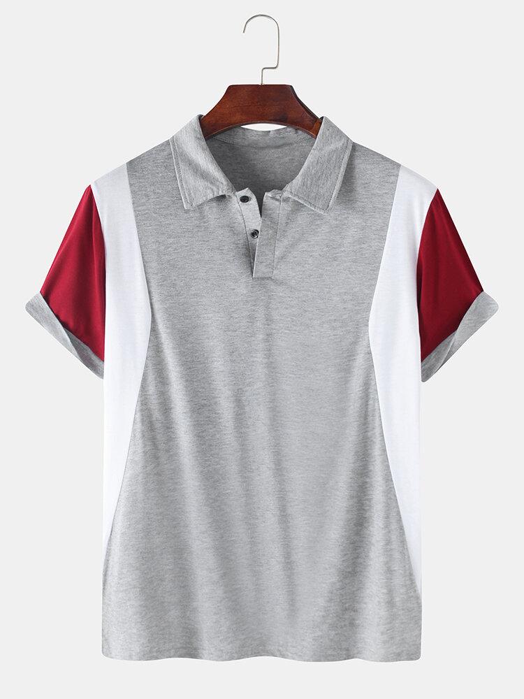 Mens Cotton Patchwork Casual Loose Lapel Collar Short Sleeve Golf Shirts