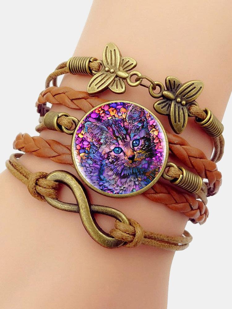 Vintage Purple Cat Pattern Print Butterfly Braided Gemstone Multi-layer Bracelet