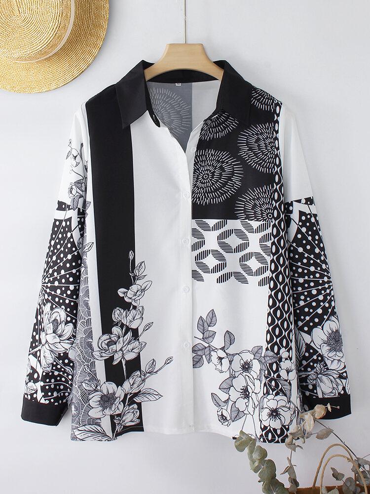Floral Dot Print Contrast Color Long Sleeve Vintage Shirt For Women