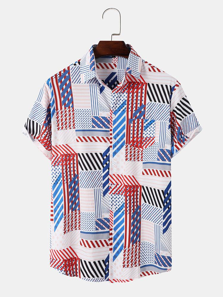 Mens Striped Color Block Lapel Pocket Short Sleeve Shirt