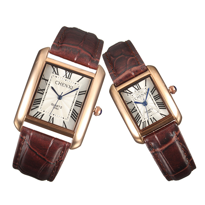 CHENXI Couple Watch Leather Stainless Steel Watch Square Watches