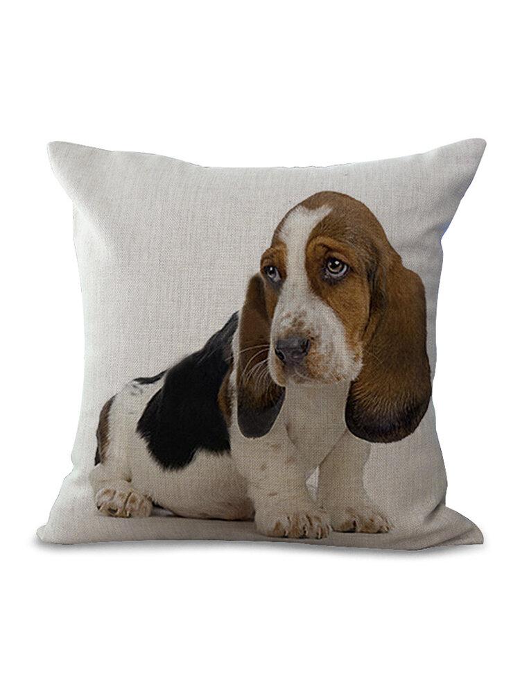 Cute Pet Dog Printed Decoration Cushion Cover Square Cotton Linen Pillowcase