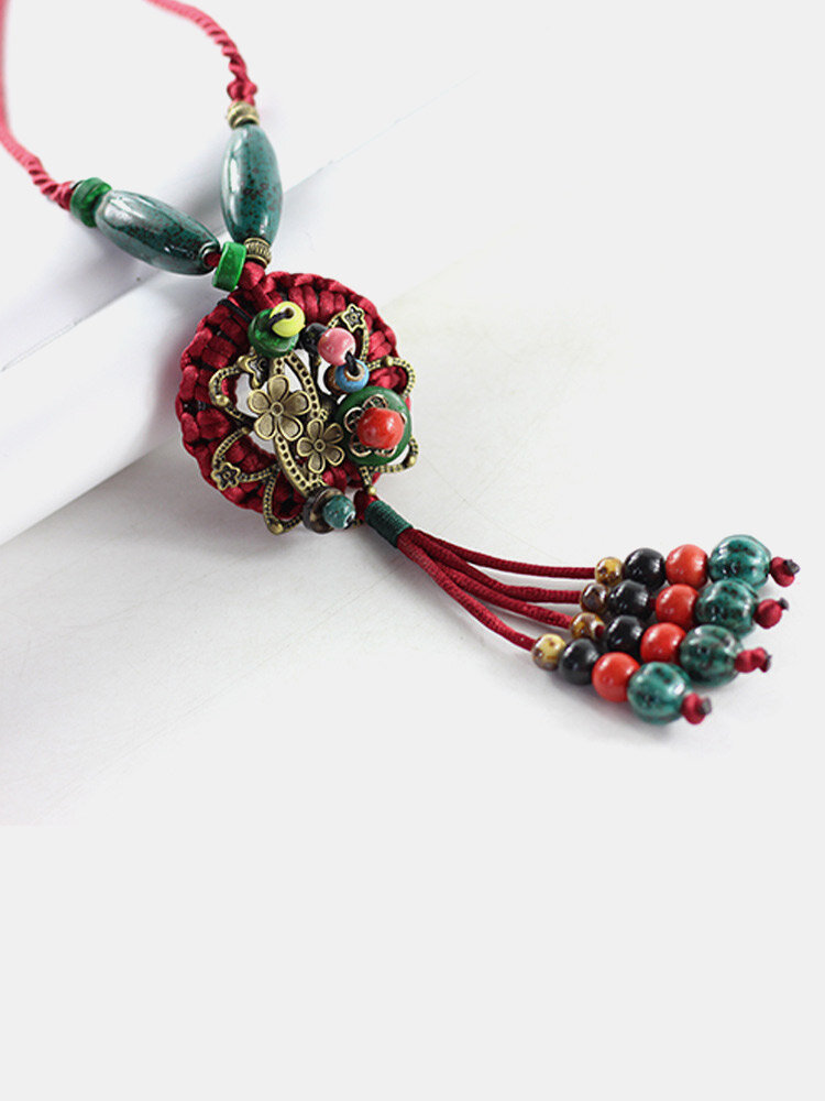 Vintage Round Flower Shape Pendant With Beaded Tassel Hand-woven Ceramics Alloy Long Sweater Necklace