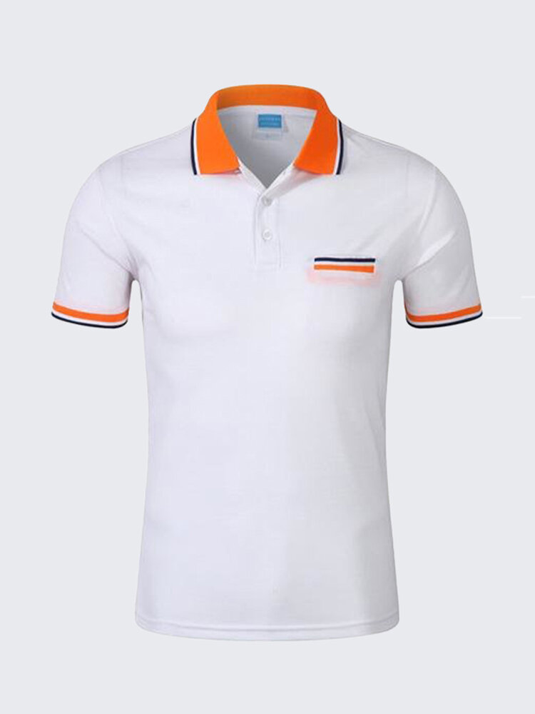 Mens Contrast Color Turndown Collar Short Sleeved Casual Golf Shirts