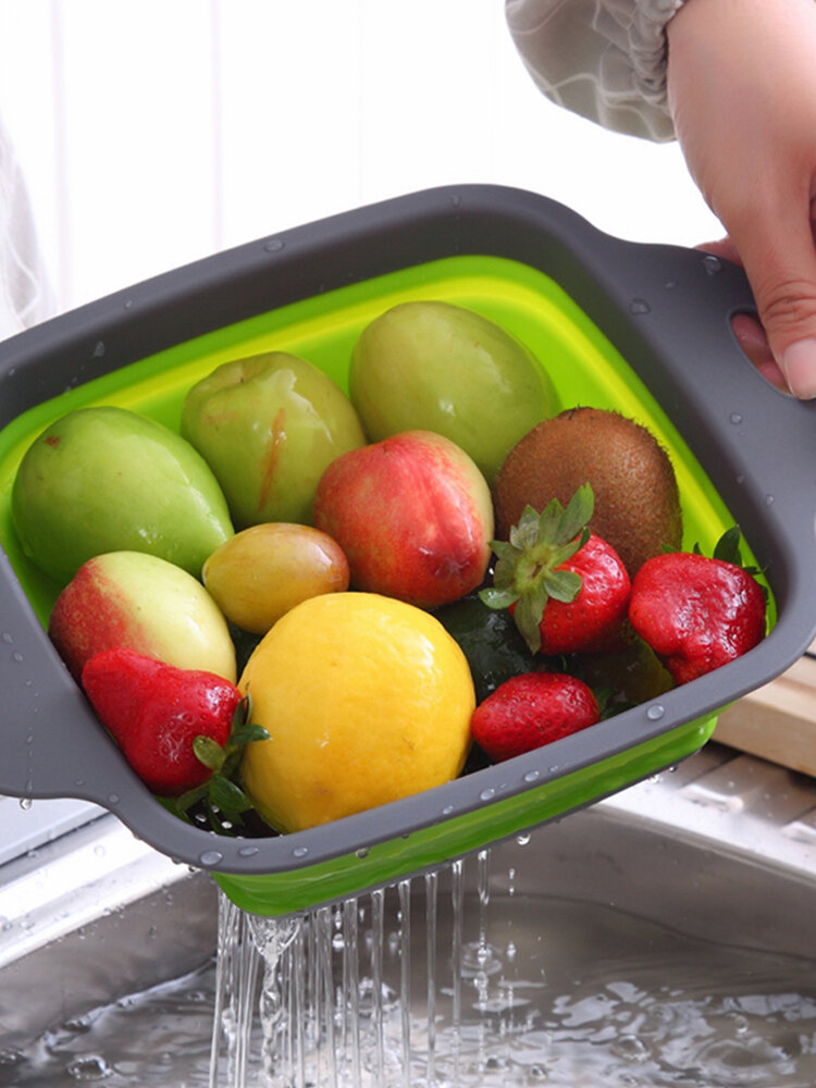 Kitchen Supplies Square Foldable Drain Basket