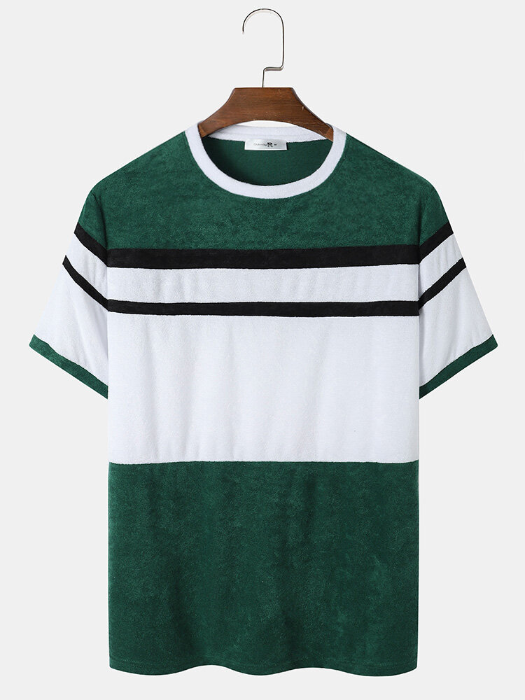 Mens Towelling Patchwork Crew Neck Street Short Sleeve T-Shirts