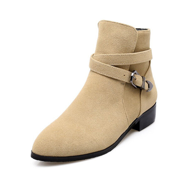 Buckle British Style Suede Short Boots