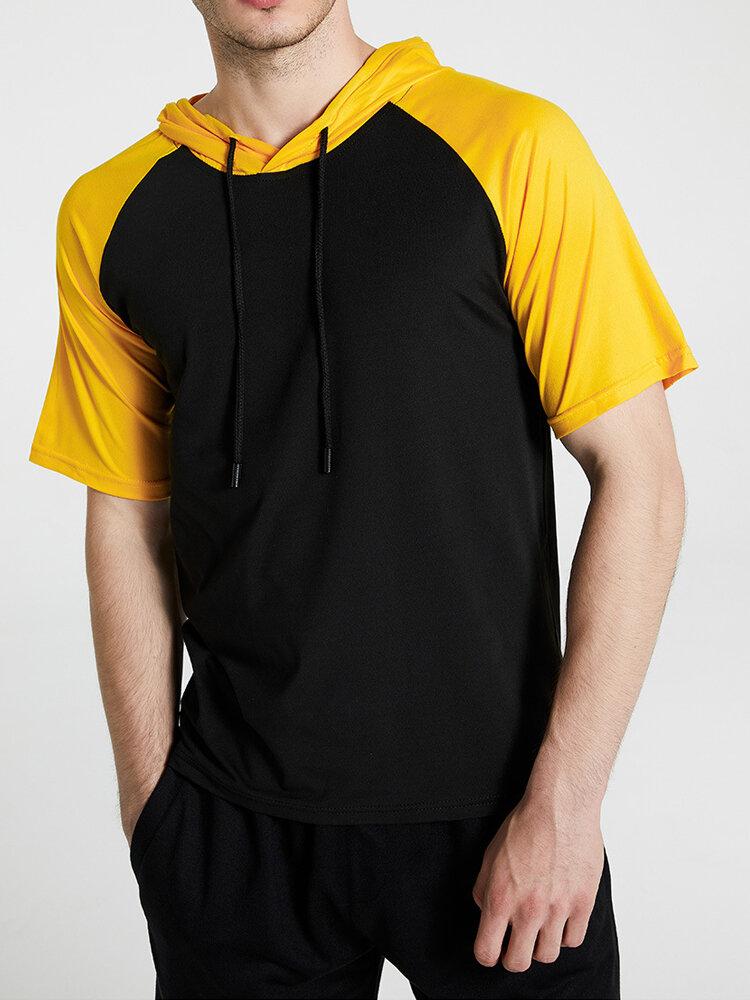Mens Casual Black & White Patchwork Sport Short Raglan Sleeve Hooded T-Shirt