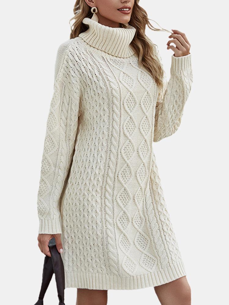 カジュアルハイネック厚編みプルオーバー分厚いセータードレス