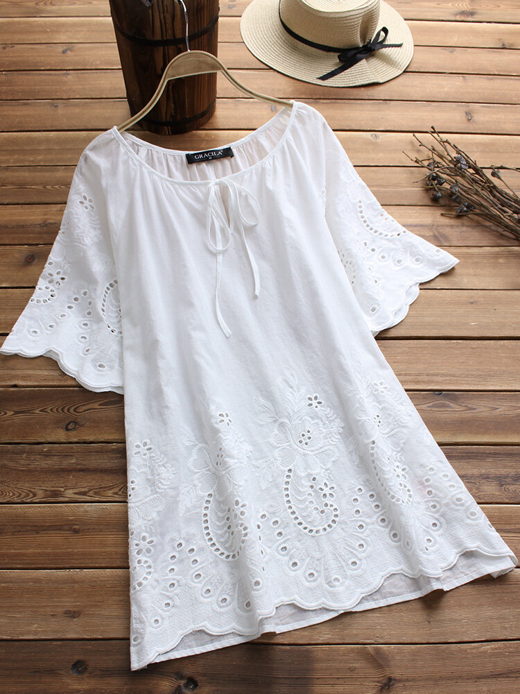 Bandage Hollow Embroidery Laced Half Sleeve Vintage Blouses