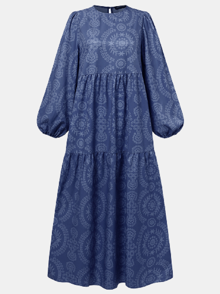 Print O-neck Puff Sleeve Plus Size Casual Dress for Women